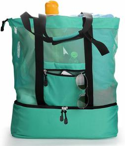 LARGE Beach Tote Bag with Zipper Insulated Picnic Cooler San