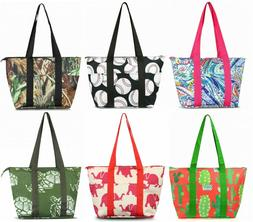 Large Insulated Lunch Tote Bag Nylon Cooler Picnic Travel Fo