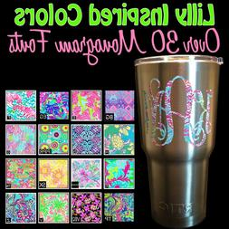 Lilly Patterned Vine Circle Monogram Name Decal Sticker for