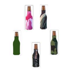 Lot of 5 Assorted-Zipper Bottle Coolers Beverage Insulators