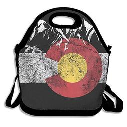 Lunch Tote Bag Vintage Mountain Colorado Flag Insulated Cute