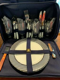 New Complete Picnic at Ascot Leather Navy Blue Cooler Plates
