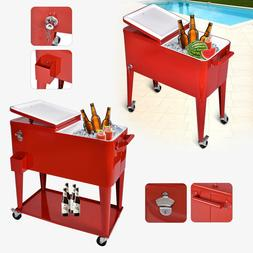Outdoor 80 QT Party Portable Rolling Cooler Cart Ice Chest B
