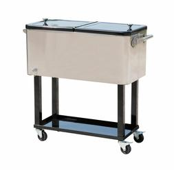 Outdoor 80 Quarts Portable Rolling Cooler Cart Home Party Ic