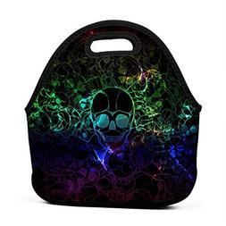 Miniisoul Portable Bento Bag Colorful Skull Funny Art Reusab