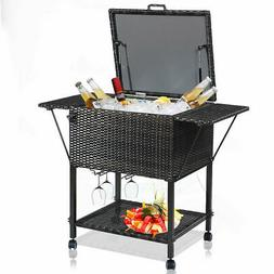 Portable Rattan Cooler Cart Trolley Outdoor Patio Pool Party