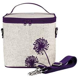 SoYoung Raw Linen Dandelion Large Cooler Bag, Purple