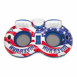 Intex River Run II American Flag Inflatable 2 Person Pool Tu