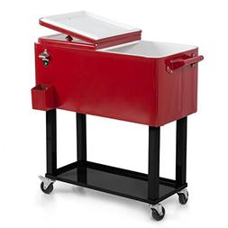 ARKSEN© Rolling Ice Chest Portable Patio Drink Party Co