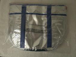 Set of 2 - Cooler Bags Zip-up Silver - Blue / Red Trim ~ New