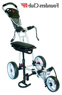 Founders Club Spider 3 Wheel Golf Push Cart with Seat - Whit