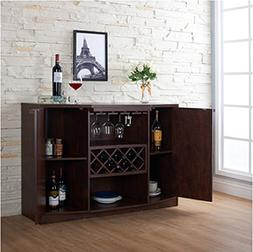 Wine BAR Buffet and Storage Cabinet with Center Glass and Wi